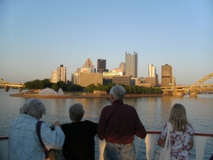 a view from the riverboat, this is where the two rivers meet and turn into the Ohio River.  the city sits on the Point